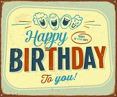 Vintage Metal Sign - Happy Birthday to you - Vector EPS10.