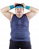 Fat Man Expressing Stressful