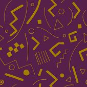 Vector Seamless Texture With Geometrical Shapes. Endless Violet Background. Vector Backdrop.