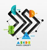Abstract business geometric infographic diagram layout with figures of alphabet letters A B C D E an