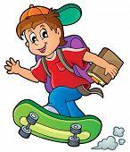 Image with school boy theme 1 - eps10 vector illustration.
