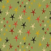 Seamless Pattern With Stars. Endless Green Background. Vector Illustration.