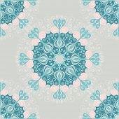 Seamless pattern with abstract elements, damask tiles. Vector illustration