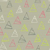 Geometric Seamless Pattern With Triangles. Abstract Pastel Background And Bright Color Triangles.