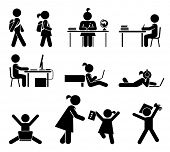 School days. Pictogram icon set. School children. Back to school. Vector set.
