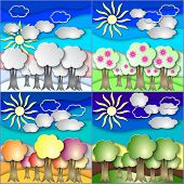 Vector illustration set of all season forest made in paper