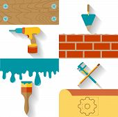Set of conceptual icons for the design, construction and finishing works. Flat design vector illustr