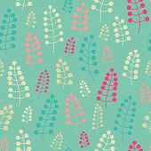 Tender Seamless Pattern With Twigs And Berries. Endless Background. Vector Backdrop. Pastel Pattern.