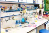 blurred laboratory interior