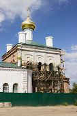 stock photo of beheaded  - Restoration of the church beheaded during the Soviet period - JPG