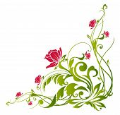 Red Flower And Green Vines