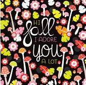 Hi fall I adore you a lot hand lettering postcard cover design with autumn leaves and toadstool blossom in vector