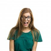 Portrait of a beautiful girl with a surprised expression isolated on white background