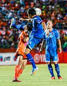Sisaket Thailand-august 13: Prathan Mansiri Of Ptt Rayong Fc. (blue) In Action During Thai Premier L