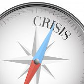 detailed illustration of a compass with crisis text, eps10 vector