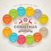 Vector template calendar 2015 with christmas type design