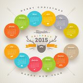 Vector calendar 2015 template with hipster style elements