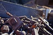Rusty Railroad Nails In Trash Box