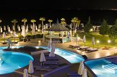 Hotel Pool In Night