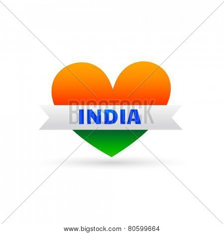 Indian Flag Style Making Heart Design Showing Love Towards Nation