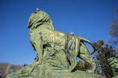 Lion, classical bronze sculptures, Lake in Retiro park, Madrid Spain