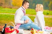 Girl And Her Boyfriend At A Picnic Have Fun Weekend