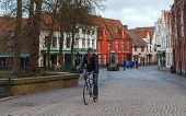 Bruges. Cyclist.