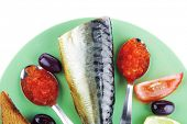 smoked herring and red caviar with toast