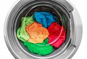 Colorful Clothes In The Washing Machine
