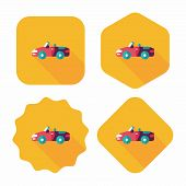 Transportation Open Car Flat Icon With Long Shadow,eps10