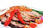 grilled beef slice on plate over white