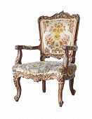 Vintage and antique  chair isolated on a white background