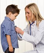 physicians and little boy icon diseases, diagnostics, heart defects