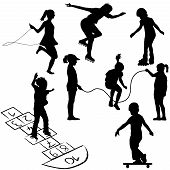Active Kids. Children On Roller Skates, Jumping Rope Or Playing On The Hopscotch