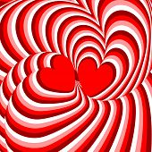 Постер, плакат: Design Hearts Twisting Movement Illusion Background