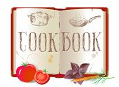 Cookbook and vegetables