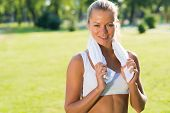 attractive woman with a white towel