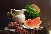 Water-melon, Grapes, Guelder-rose And White Jug