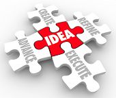 Idea word on a puzzle piece and others around it including Create, Advance, Refine and Execute as a plan or strategy for improvement and innovation