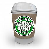 Your Second Office words on a coffee cup to illustrate mobile work at a coffee shop or cafe and being productive and efficient