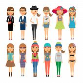 Cutie cartoon fashion girls in colorful clothes
