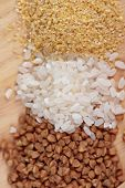 Cereals - buckwheat rice millet and wheat groats