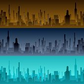 Cityscape backgrounds. City in the morning, evening and night