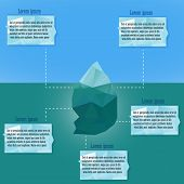 Polygonal iceberg infographics.  Vector illustration- low poly style. Triangle design. Winter theme.