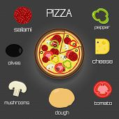 Pizza and ingredients - classic pizza elements