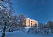image of winter palace  - Pavlovsky palace and park in winter sunny day Pavlovsk Russia - JPG