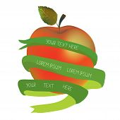 Apple with ribbon for the text - organic or health concept