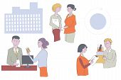 Business people at the office - work in groups