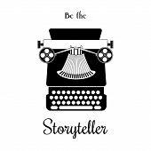 Typewriter vector card - be the Storyteller