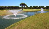 foto of fountain grass  - Fountain in the artificial pond in Turkey - JPG
